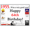 1955 - 64TH BIRTHDAY PLACEMAT PARTY SUPPLIES