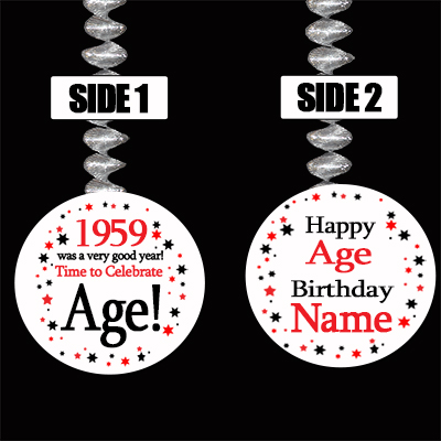 1959 BIRTHDAY CUSTOMIZED DANGLER PARTY SUPPLIES