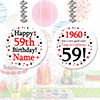 1960 - 59TH BIRTHDAY CUSTOM DANGLER PARTY SUPPLIES