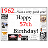1962 - 57TH BIRTHDAY PLACEMAT PARTY SUPPLIES