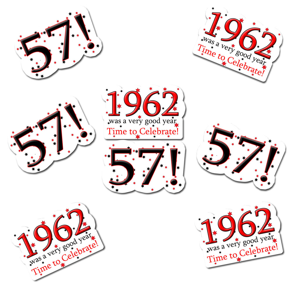 Click for larger picture of 1962 - 57TH BIRTHDAY STICKER SEAL PARTY SUPPLIES
