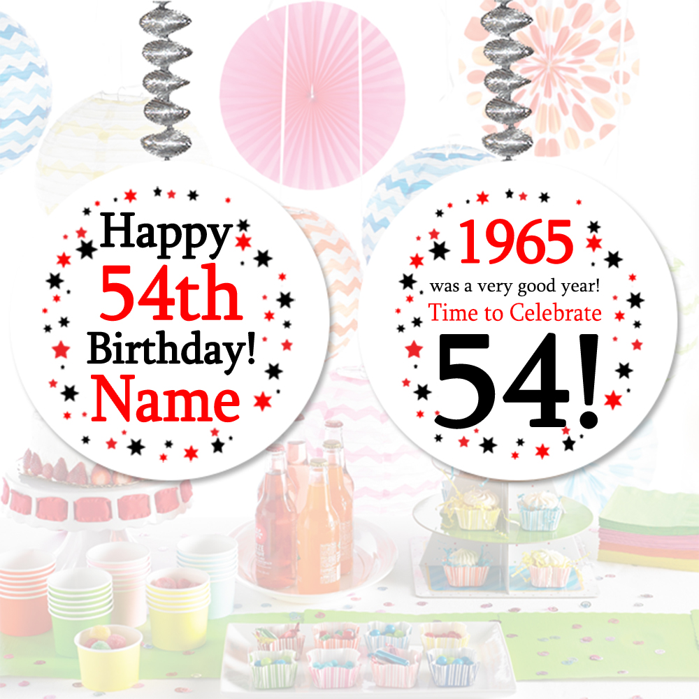 Click for larger picture of 1965 - 54TH BIRTHDAY CUSTOM DANGLER PARTY SUPPLIES