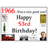 1966 - 53RD BIRTHDAY PLACEMAT PARTY SUPPLIES