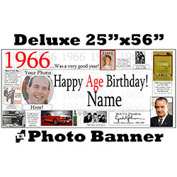 1966 CUSTOM PHOTO DELUXE BANNER PARTY SUPPLIES