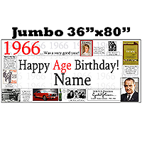 1966 JUMBO PERSONALIZED BANNER PARTY SUPPLIES