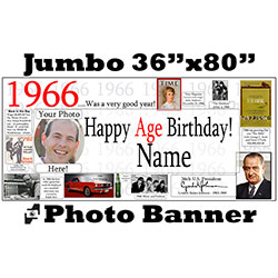 1966 CUSTOM PHOTO JUMBO BANNER PARTY SUPPLIES