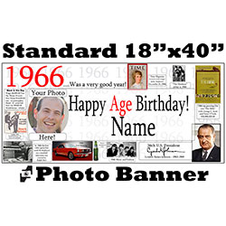 1966 CUSTOM PHOTO BANNER PARTY SUPPLIES