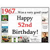 1967 - 52ND BIRTHDAY PLACEMAT PARTY SUPPLIES