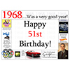 1968 - 51ST BIRTHDAY PLACEMAT PARTY SUPPLIES