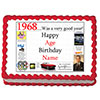 1968 PERSONALIZED EDIBLE CAKE IMAGE PARTY SUPPLIES
