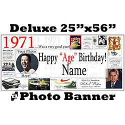 1971 CUSTOM PHOTO DELUXE BANNER PARTY SUPPLIES