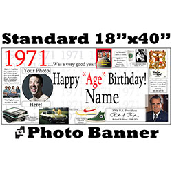 1971 CUSTOM PHOTO BANNER PARTY SUPPLIES