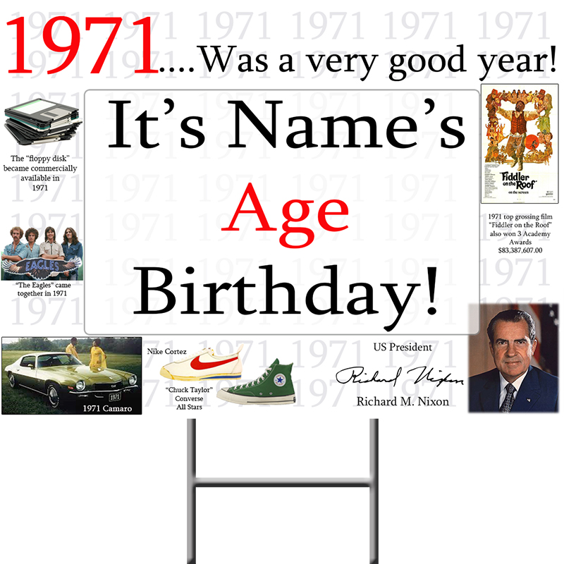 Click for larger picture of 1971 PERSONALIZED YARD SIGN PARTY SUPPLIES