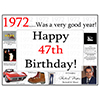1972 - 47TH BIRTHDAY PLACEMAT PARTY SUPPLIES