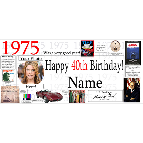 1975 CUSTOM PHOTO BANNER PARTY SUPPLIES