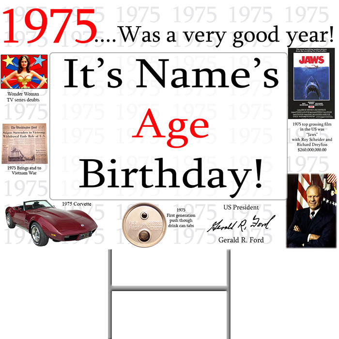 Click for larger picture of 1975 PERSONALIZED YARD SIGN PARTY SUPPLIES