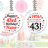 1976 - 43RD BIRTHDAY CUSTOM DANGLER PARTY SUPPLIES