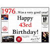 1976 - 43RD BIRTHDAY PLACEMAT PARTY SUPPLIES