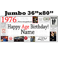 1976 JUMBO PERSONALIZED BANNER PARTY SUPPLIES