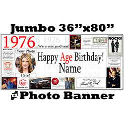 1976 CUSTOM PHOTO JUMBO BANNER PARTY SUPPLIES