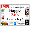 1985 - 34TH BIRTHDAY PLACEMAT PARTY SUPPLIES