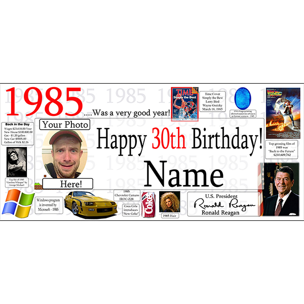 1985 CUSTOM PHOTO BANNER PARTY SUPPLIES