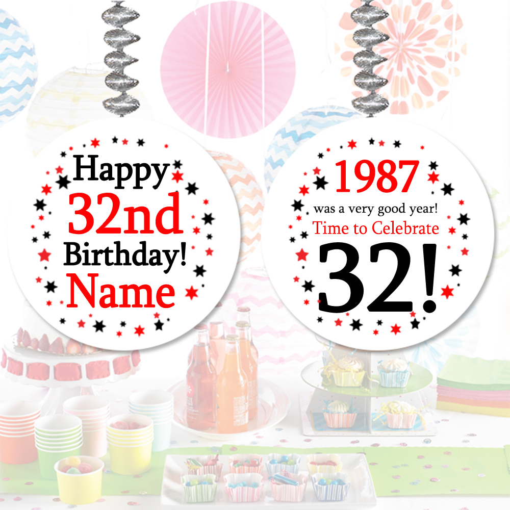 Click for larger picture of 1987 - 32ND BIRTHDAY CUSTOM DANGLER PARTY SUPPLIES