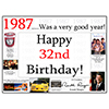 1987 - 32ND BIRTHDAY PLACEMAT PARTY SUPPLIES