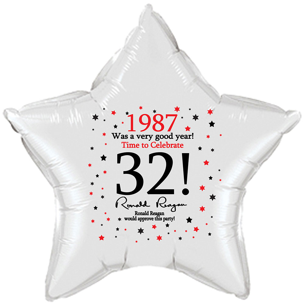Click for larger picture of 1987 - 32ND BIRTHDAY STAR BALLOON PARTY SUPPLIES