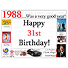 1988 - 31ST BIRTHDAY PLACEMAT PARTY SUPPLIES