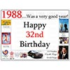 1988 32ND BIRTHDAY PLACEMAT PARTY SUPPLIES