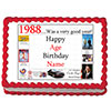 1988 PERSONALIZED EDIBLE CAKE IMAGE PARTY SUPPLIES