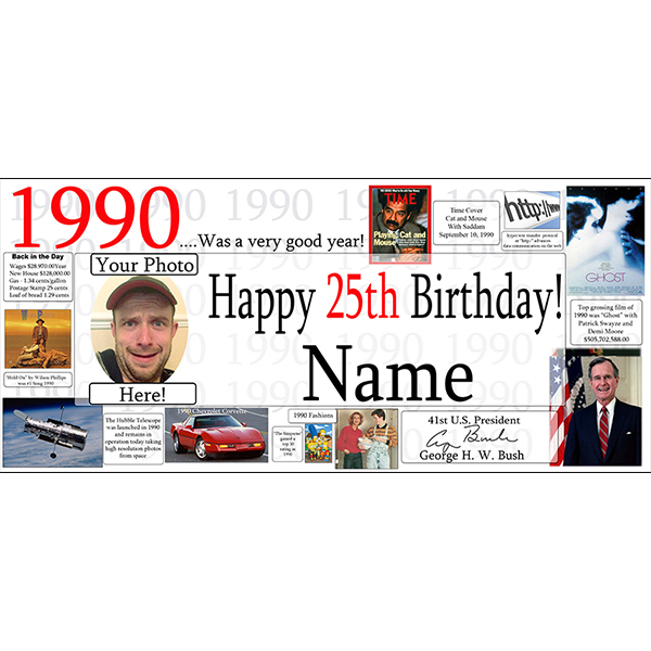 1990 CUSTOM PHOTO BANNER PARTY SUPPLIES