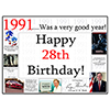 1991 - 28TH BIRTHDAY PLACEMAT PARTY SUPPLIES