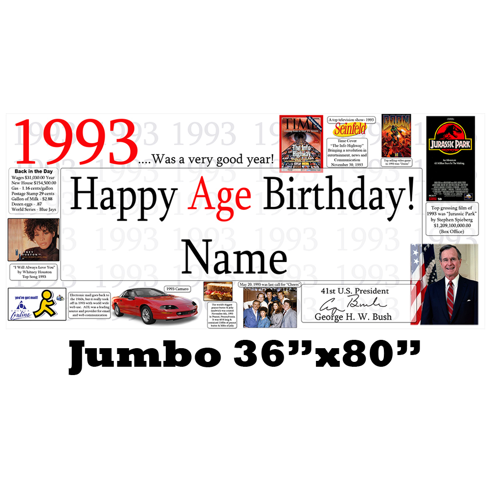Click for larger picture of 1993 JUMBO PERSONALIZED BANNER PARTY SUPPLIES