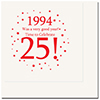 1994 - 25TH BIRTHDAY LUNCHEON NAPKIN PARTY SUPPLIES