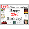 1996 - 23RD BIRTHDAY PLACEMAT PARTY SUPPLIES