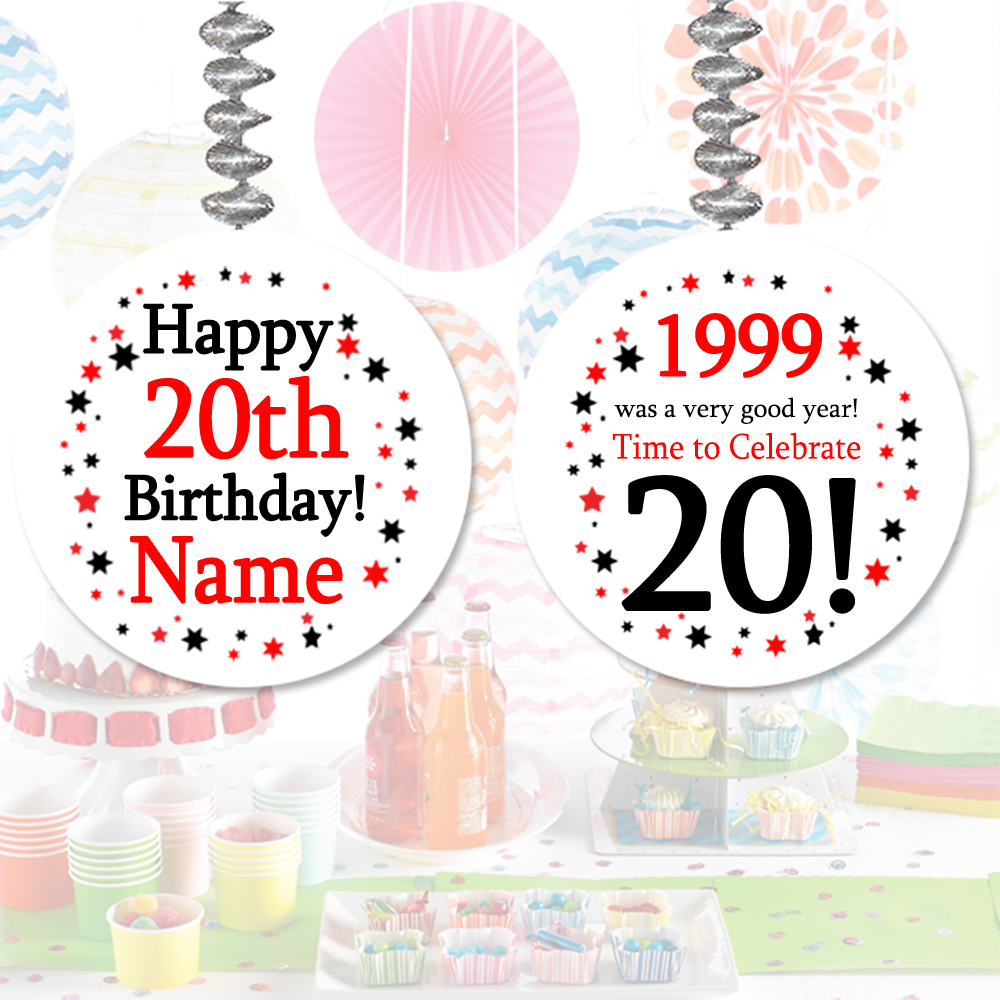 Click for larger picture of 1999 - 20TH BIRTHDAY CUSTOM DANGLER PARTY SUPPLIES