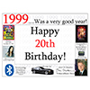 1999 - 20TH BIRTHDAY PLACEMAT PARTY SUPPLIES