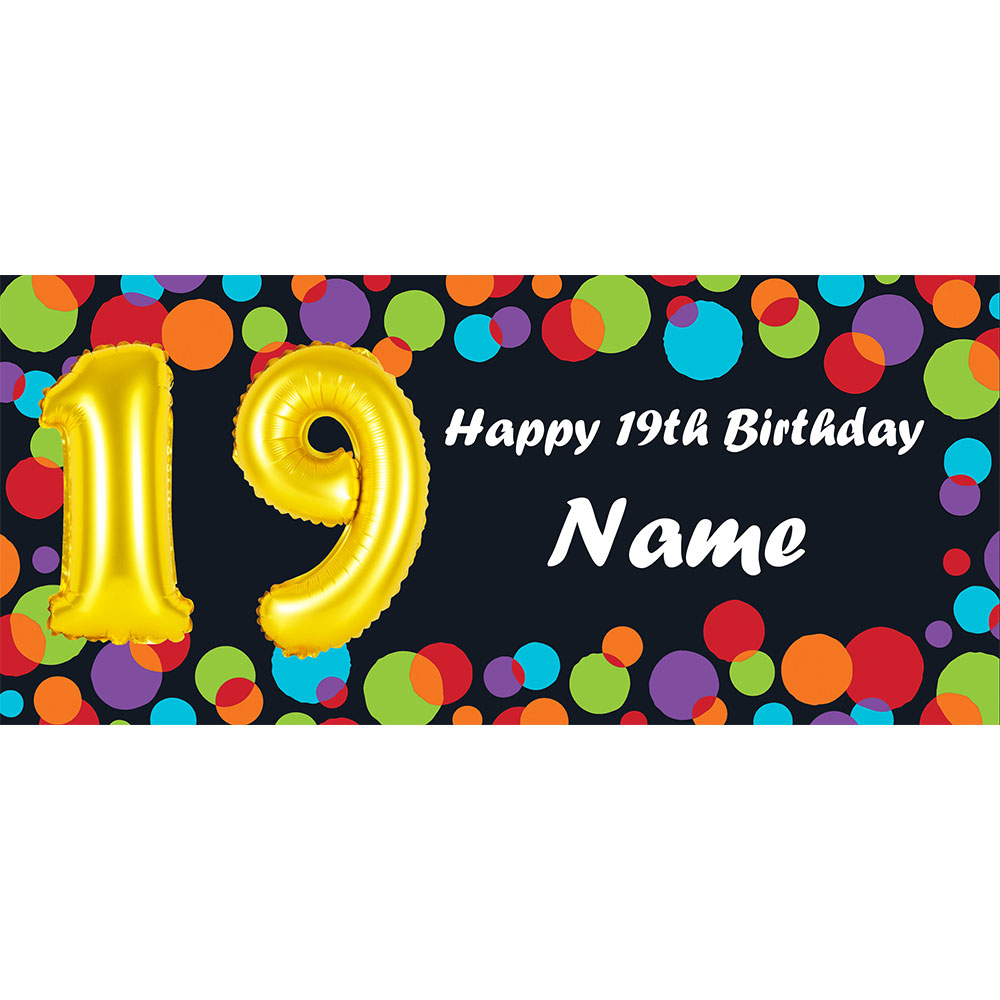 Click For Larger Picture Of BALLOON 19TH BIRTHDAY CUSTOMIZED BANNER PARTY SUPPLIES