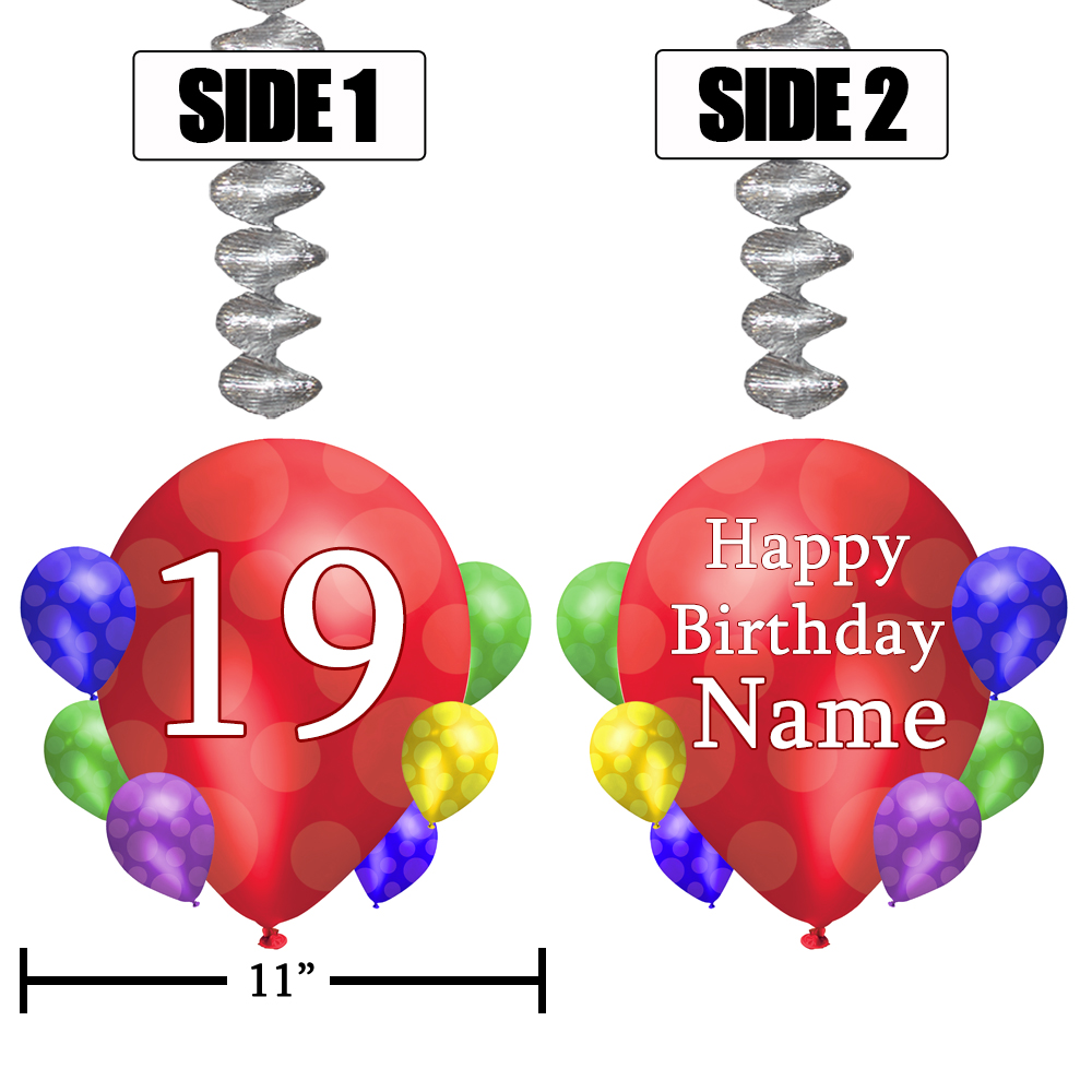Click For Larger Picture Of 19TH BALLOON BLAST JUMBO CUSTOM DANGLER PARTY SUPPLIES