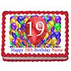 19TH BIRTHDAY BALLOON BLAST EDIBLE IMAGE PARTY SUPPLIES