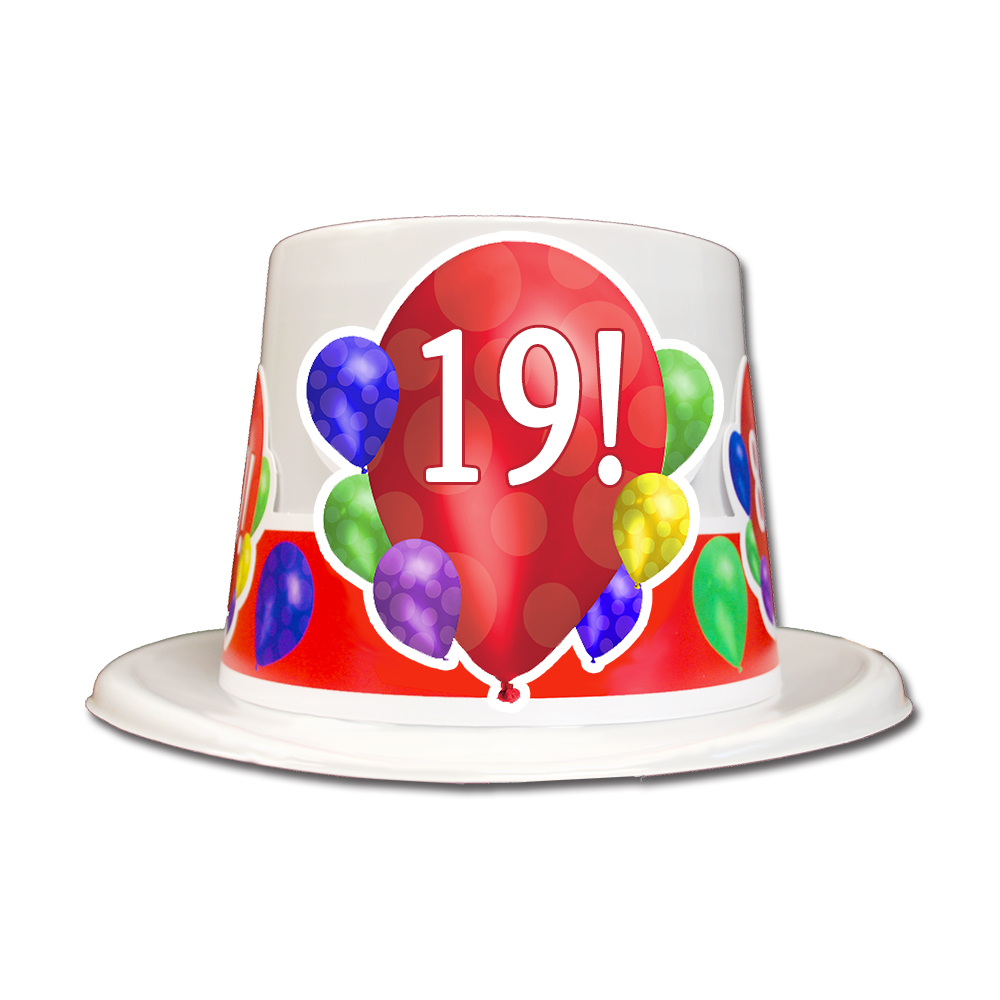 Click For Larger Picture Of 19TH BIRTHDAY BALLOON BLAST TOP HAT PARTY SUPPLIES
