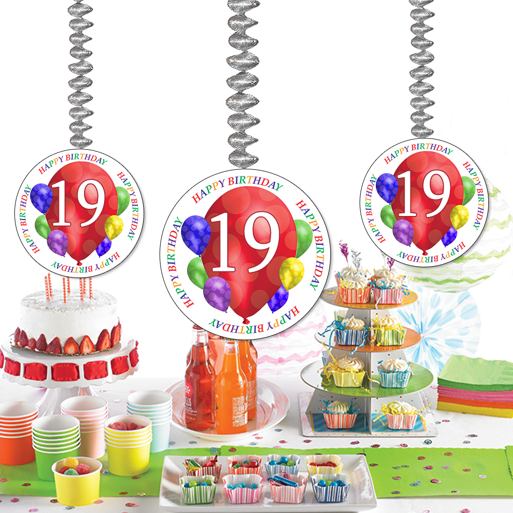 Click For Larger Picture Of 19TH BIRTHDAY BALLOON BLAST DANGLER PARTY SUPPLIES