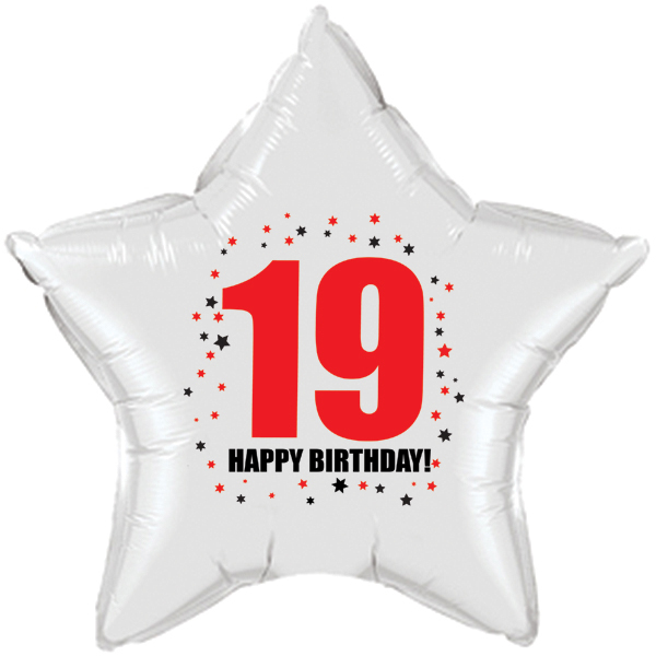 Click For Larger Picture Of 19TH BIRTHDAY STAR BALLOON PARTY SUPPLIES