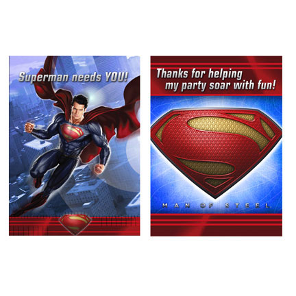 Click for larger picture of DISCONTINUED SUPERMAN INVITATION & TY PARTY SUPPLIES
