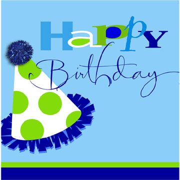Click for larger picture of DISCONTINUED BIRTHDAY BLUE LUNCH NAPKIN PARTY SUPPLIES