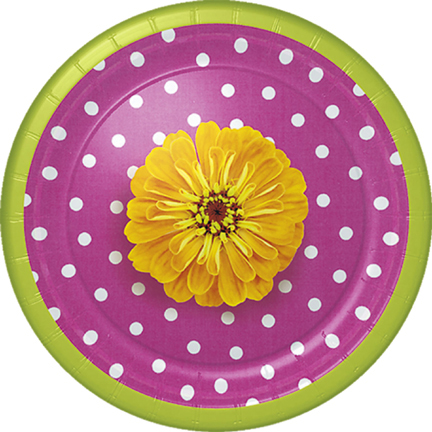 Click for larger picture of POLKA DOTS & PETALS DESSERT PLT(48/CS) PARTY SUPPLIES