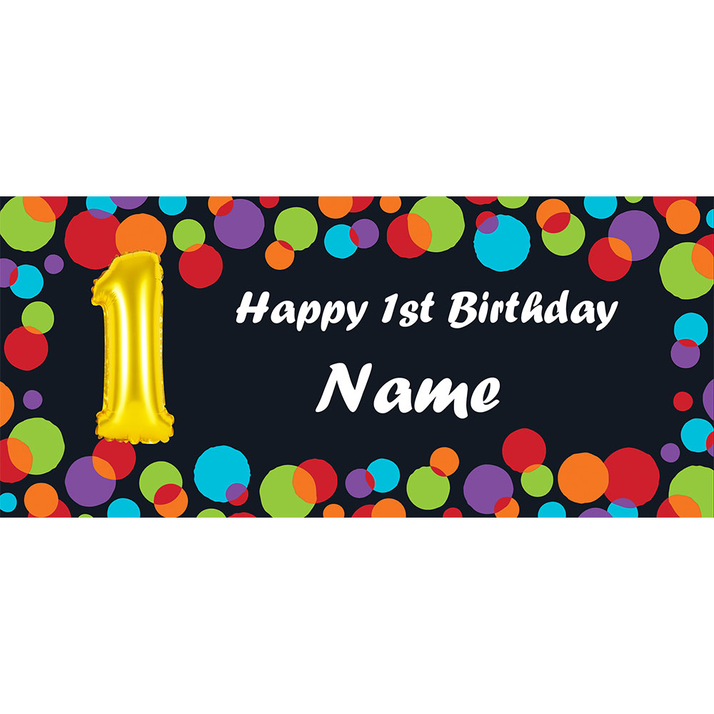 Click for larger picture of BALLOON 1ST BIRTHDAY CUSTOMIZED BANNER PARTY SUPPLIES