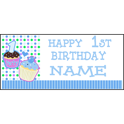 Click for larger picture of PERSONALIZED 1ST CUPCAKE BOY BANNER PARTY SUPPLIES